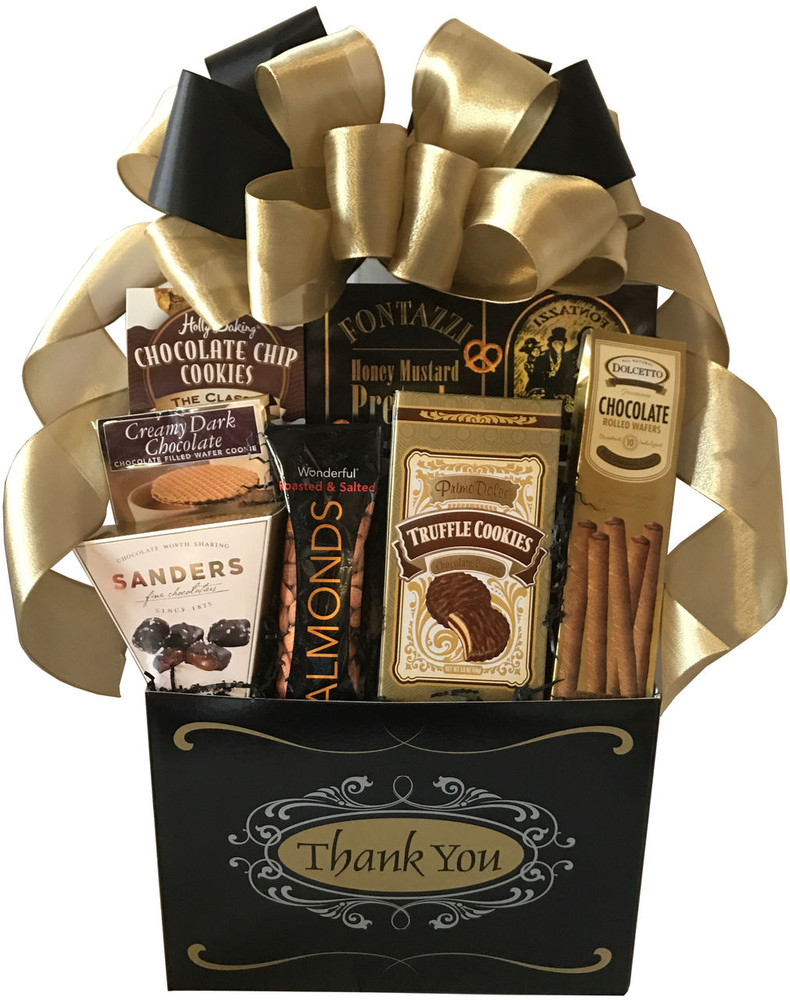 An elegant way to send a thank you! The striking gift box is brimming with chocolates, assorted types of cookies, honey mustard pretzels, nuts and snack mix, and topped off with a beautiful hand made bow.