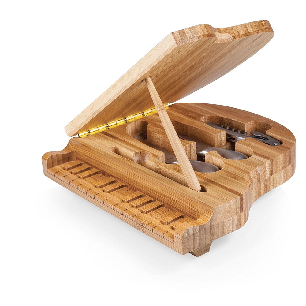 This Piano Cheese Board is made of rich bamboo and shaped like a Baby Grand Piano! It can be displayed open with the lid propped up (includes the prop stick) as a decorative accent, and on the buffet table to show off the  stainless steel cheese tools and corkscrew inside. It also can be displayed with the lid closed and assorted cheeses on top. This is a perfect gift for pianists, music enthusiasts,  and people who appreciate unique items that become a conversation piece!