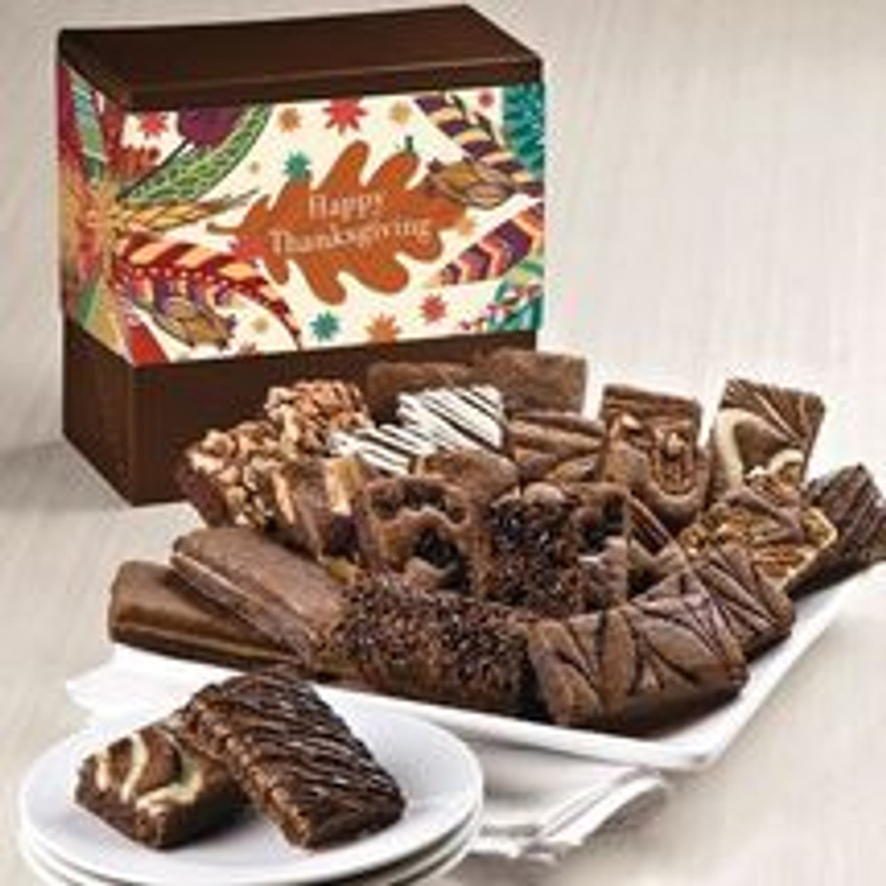 PLEASE NOTE:  These brownies are freshly baked and shipped directly from the bakery the next business day from the day ordered. Please allow 2 to 4 business days (depending on destination) for the gift to arrive.  24 Brownies in a beautiful Thanksgiving themed box. Includes: 2 Caramel, 2 Chocolate Chip, 2 Cinnamon Cocoa, 2 Mint Chocolate, 2 Original, 2 Pecan, 2 Raspberry Swirl, 2 Toffee Crunch, 2 Walnut, 2 White Chocolate, 2 Espresso Nib, and 2 Cream Cheese.  NOTE: Sugar Free brownies are available upon request and are equally delicious!