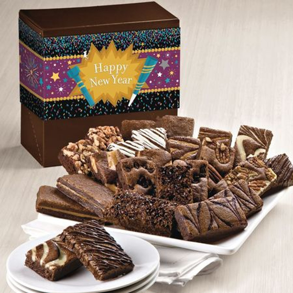PLEASE NOTE:  These brownies are freshly baked and shipped directly from the bakery the next business day from the day ordered. Please allow 2 to 4 business days (depending on destination) for the gift to arrive.  Delicious, freshly baked, melt in your mouth, assorted chocolate brownies in a festive Happy New Year themed gift box. 24 decadent brownies! Flavors are: 2 Caramel, 2 Chocolate Chip, 2 Cinnamon Cocoa, 2 Mint Chocolate, 2 Original, 2 Pecan, 2 Raspberry Swirl, 2 Toffee Crunch, 2 Walnut, 2 White Chocolate, 2 Espresso Nib, 2 Cream Cheese.  NOTE: Sugar Free brownies are available upon request and are equally delicious!