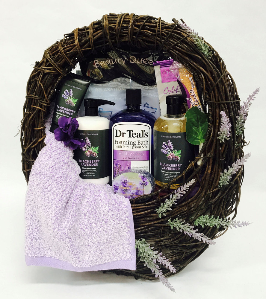 A Stunning presentation of lavender spa products in a rustic designer container that can be used as a planter, magazine basket, decorative home accent, or used in the bathroom to hold hand towels and toiletries. Includes body lotion, bath gel, bubble bath, sleep mask, tea, and a pretty lavender hand towel.