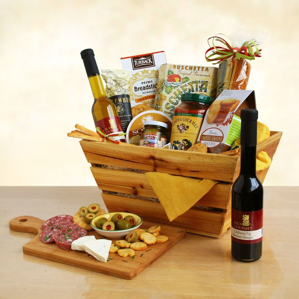 This makes for a great dinner at home! Appetizers include Salome, olives, cheese, and crackers, which can be followed by a nice  Angel Hair pasta dinner with bread sticks, olive oil and vinegar,  and pasta sauce.   This gift ships ground within 24 hours and arrives in two to four business days, depending on the destination.