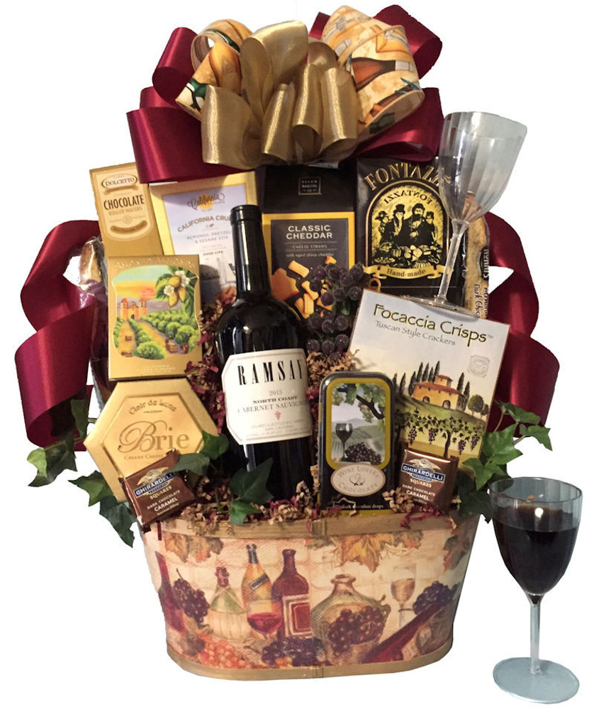 A Festive wine theme container filled with a delicious assortment of gourmet items  to enjoy with the bottle of Cabernet from San Diego Wine.  Includes Brie, Focaccia Crackers,  Smoked Almonds, Snack Mix, Cheese Straws or Wine Biscuits, Ghirardelli Chocolates,  Chocolates that pair with wine, and more!  Great gift for any occasion, Birthday, Father's Day, Thank You, Holiday, and Client Gifts. Items of equal or greater value may be substituted depending on availability.
