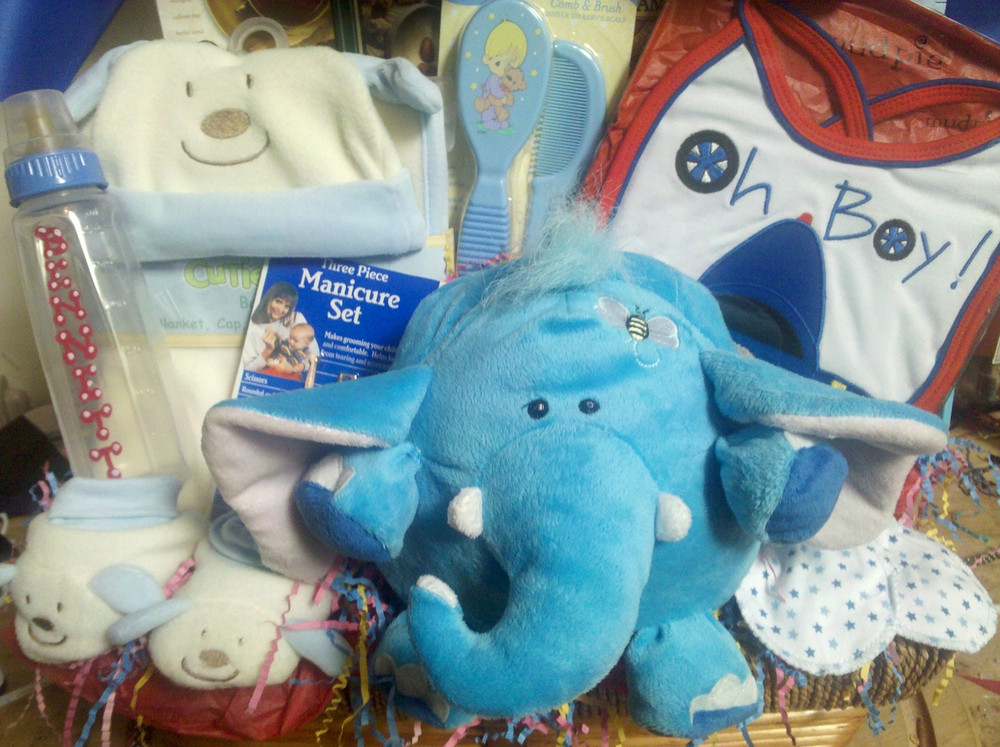 An adorable assortment of baby boy gift items, a plush animal and some goodies for mom and dad to share.
