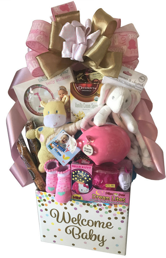 """An adorable """"Welcome Baby"""" gift box that makes a cute organizer in the nursery, filled with an assortment of baby gift items, tea, and chocolate . Note: Specify in notes if it is a Baby Girl or Baby Boy A few of the baby items include pink or blue piggy bank called """"Diaper Change"""", booties, first blanket, rattle, 1st month to 12th month belly stickers for photography, plush animal, and more. Items of equal or greater value may be substituted depending on availability."""