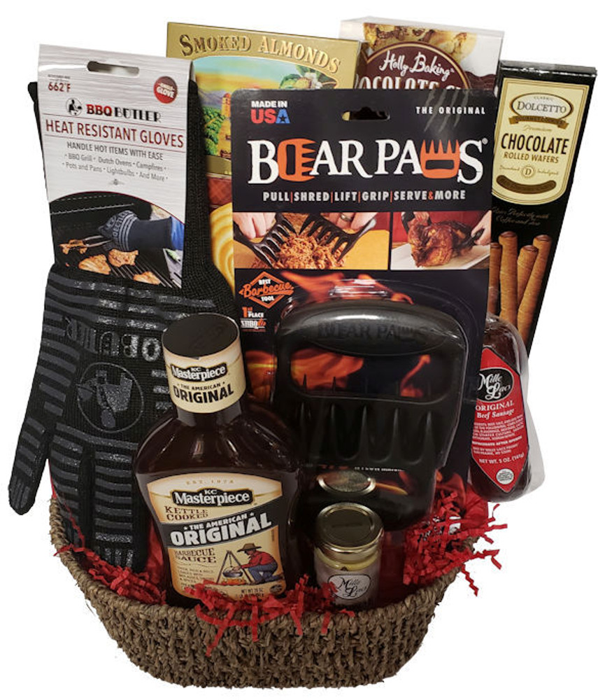 This unique basket includes the award winning Bear Paws tool, heat resistant gloves, barbecue sauce, summer sausage, mustard, smoked almonds, chocolate chip cookies, and more.  whether the recipient likes to barbecue or is cooking a turkey, ham or roast in the home, this gift will be used and enjoyed over and over.   The Bear Paws is great for pulling, shredding, lifting, and serving  The Heat Resistant glove is great for the BBQ grill, pots and pans, campfire and even changing light bulbs!