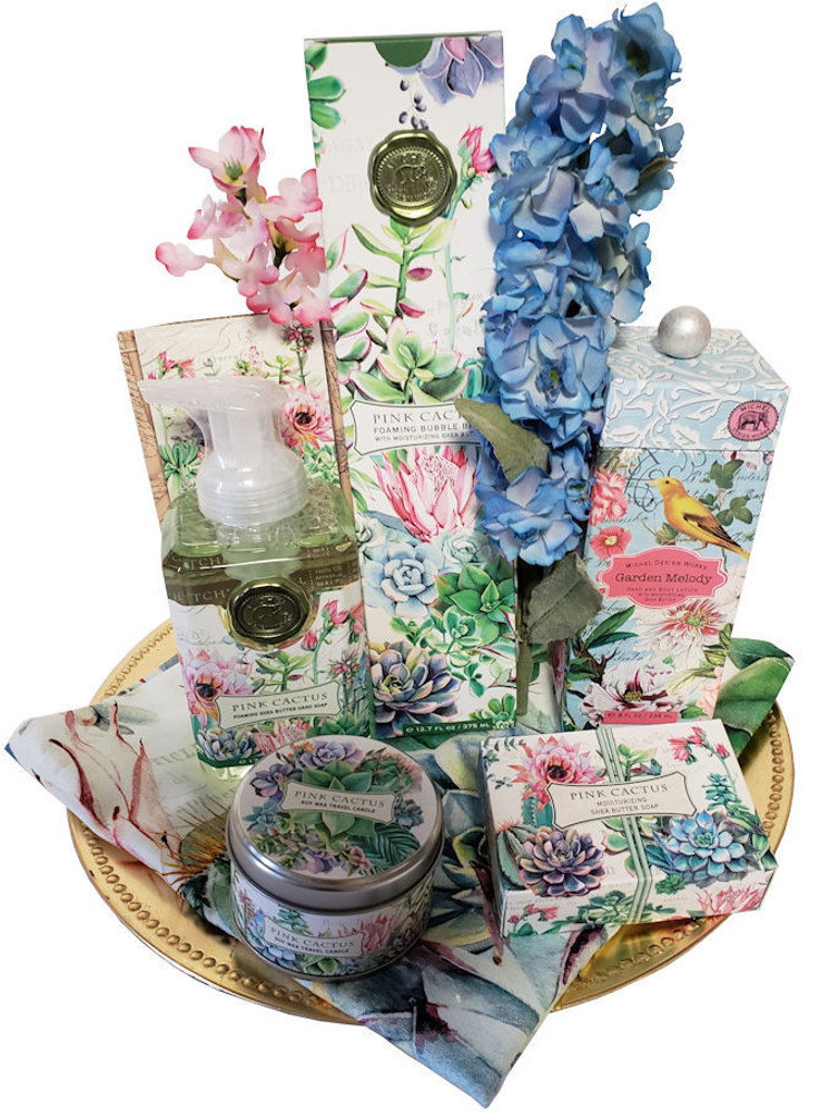 Upscale and beautifully packaged  spa products that are not only pampering and have a wonderful fragrance, but also decorate the bath or spa area with a touch of elegance! Includes:  Tall bottle Bubble Bath Boxed Soap Foaming Hand Soap Scented Candle Luxurious Body Cream Designer Tea Towel Gold Tray  This gift makes a great gift for  An Easter Hostess Gift, Mother's Day, Thank You, Get Well or Housewarming.  Items of equal or greater value may be substituted depending on availability and the discovery of new or seasonal items.