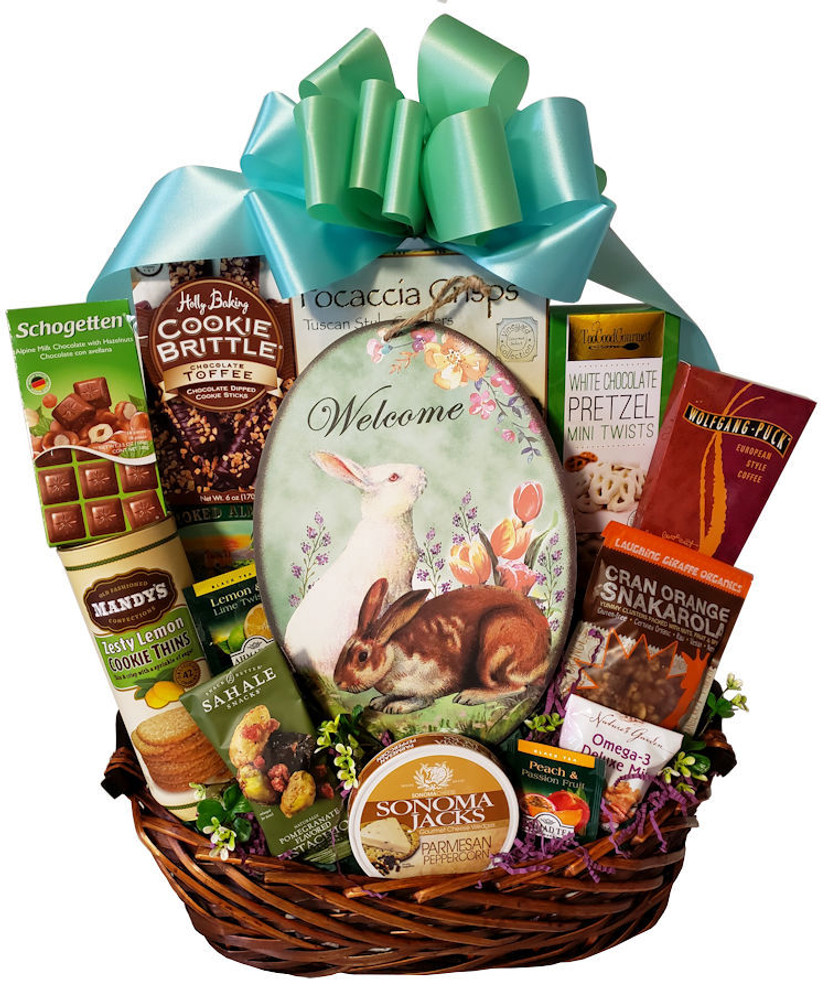 A delicious assortment of sweet and savory goodies that the whole family can share, and the beautiful hanging plaque will be enjoyed every Spring season to welcome friends and family to the home.  This is a great Easter or  Spring Housewarming gift.  Items of equal or greater value may be substituted depending on availability and the discovery of great new seasonal items.