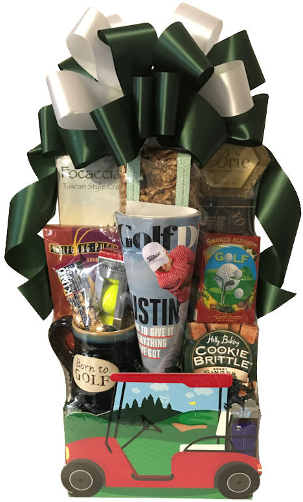 Our golf cart gift box is filled with gifts and snacks for the golfing enthusiast and is always a big hit. Includes:  Cookies Nuts Golf Mug Coffee Pretzels Crackers Cheese Golf Balls  Golf Magazine or Book