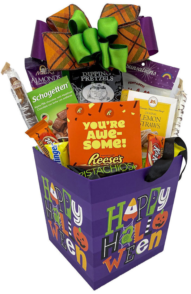 """This bright and festive Halloween box has a satin ribbon handle and since the design is on all four sides, would make a great Halloween centerpiece each year. It is overflowing with delicious sweet and savory snacks that would be enjoyed by kids of all ages, or for the whole family to share. This is also a great business appreciation gift to send to clients with a banner that says: """"It Would Be Scary Without You!"""" Includes:  """"You're Awesome!"""" Big Reese's Peanut Butter Cup Lemon Straws Savory Pretzels Fruit Jelly Candies Roasted Almonds Chocolate dipped Pretzel Rods Pistachios Halloween Basket Box with ribbon handle Items of equal or greater value may be substituted depending on availability and the discovery of great new seasonal items."""