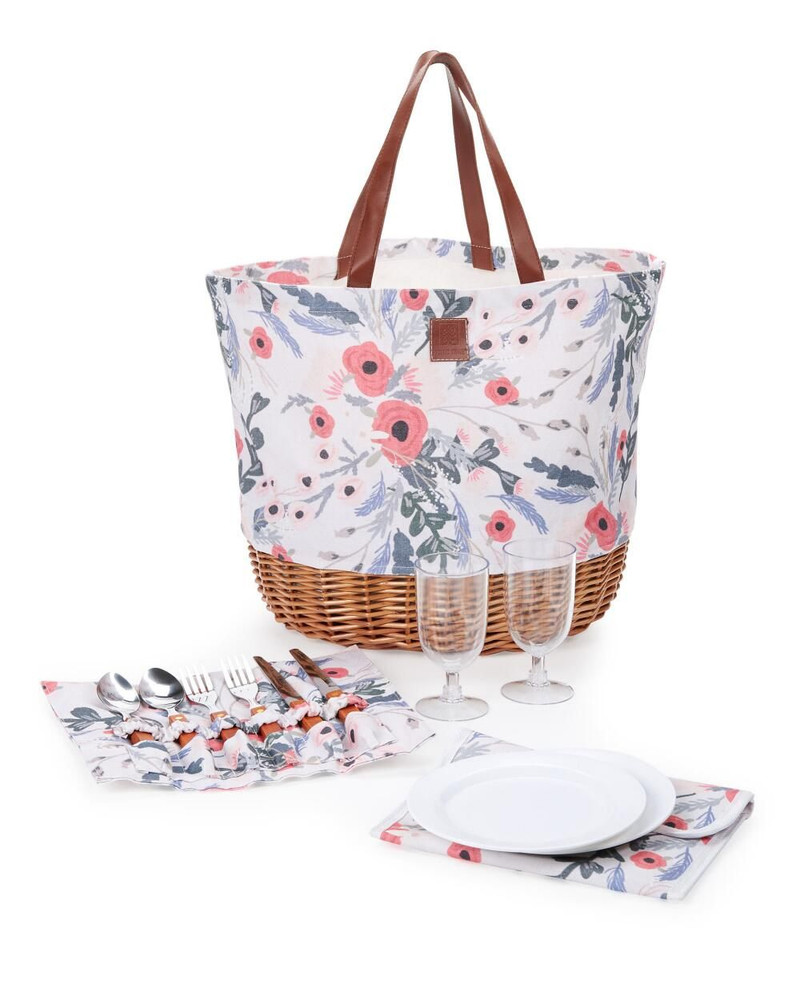 There are no limits to the functionality of this beautiful, fashionable, and unique tote! It can be used for shopping, Farmer's Market, beach, boating, picnics, car trips, camping, and even to sneak some goodies into the movie theater!   It sits sturdily on it's wicker base, and collapses down to easily fit anywhere.   The picnic tote also includes service for two ( plates, wine glasses and silverware in matching fabric holder)  NOTE: To arrange an upgraded custom version filled with sweet and savory gourmet items and confections, give us a call.