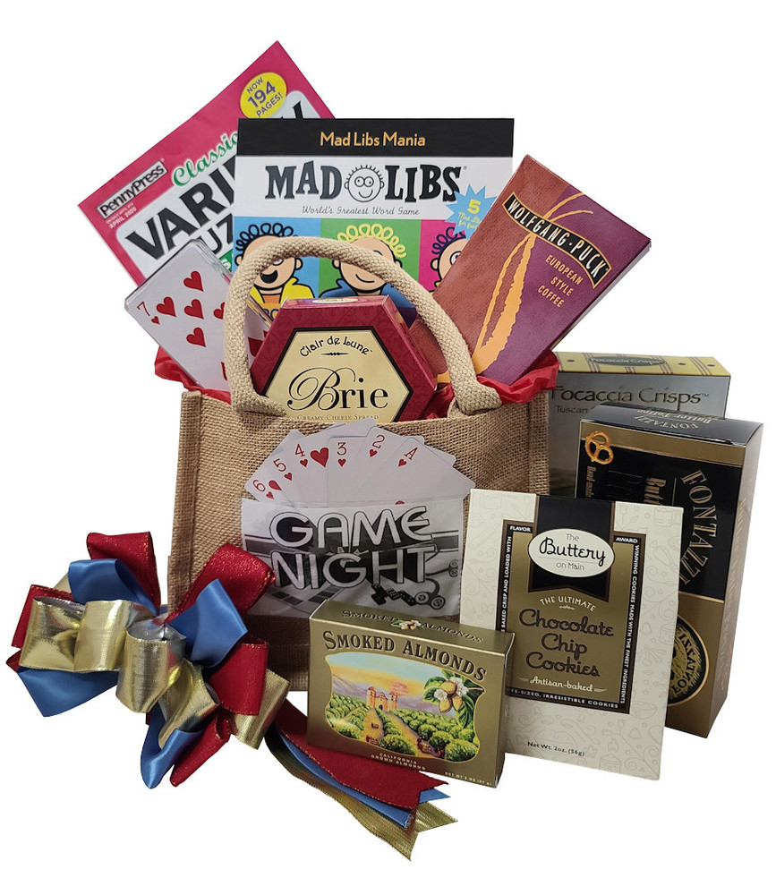 Fun games and yummy snacks to enjoy at home, Designed in a Burlap Tote that makes a great organizer. Includes:  Burlap Tote Bag Puzzles and Games Deck of Cards European Style  Coffee Cheese Focaccia Crackers California Almonds Gourmet Pretzels Chocolate Chip Cookies Chocolate Items of equal or greater value may be substituted depending on availability.