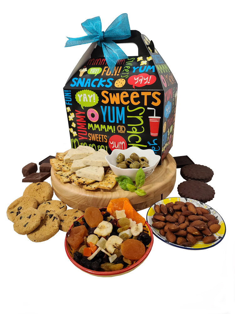 A delicious assortment of sweet and savory gourmet items perfect for sharing. Includes cheese, crackers, nuts, dried fruit, olives, chocolate chip cookies,  and chocolates. If you would like summer sausage instead of dried fruit, just put that in the note section.