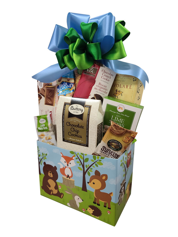 An adorable gift for kids of all ages, with the cutest ever animal theme going all around the box. Includes cookies, nuts, snack mix and chocolate.  Items of equal or greater value may be substituted depending on availability.