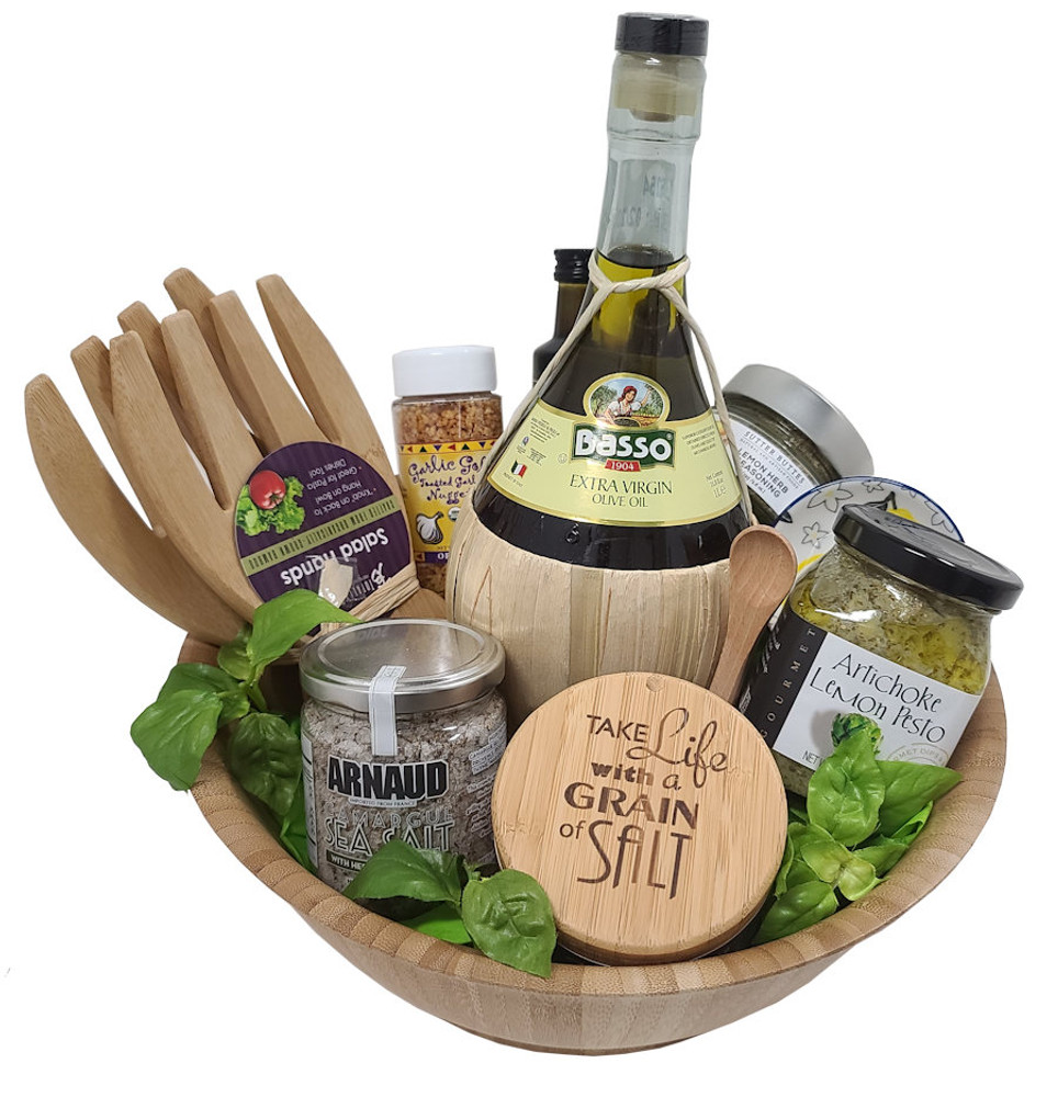 """This elegant and functional gift features a bamboo salt holder that says """"Take Life With A Grain Of Salt and seasoned salt! The Bamboo salad bowl is filled with a large designer bottle of exta virgin olive oil, bamboo salad tongs, lemon herb spice mix, delicious garlic nuggets, balsamic vinegar. and artichoke lemon spread."""