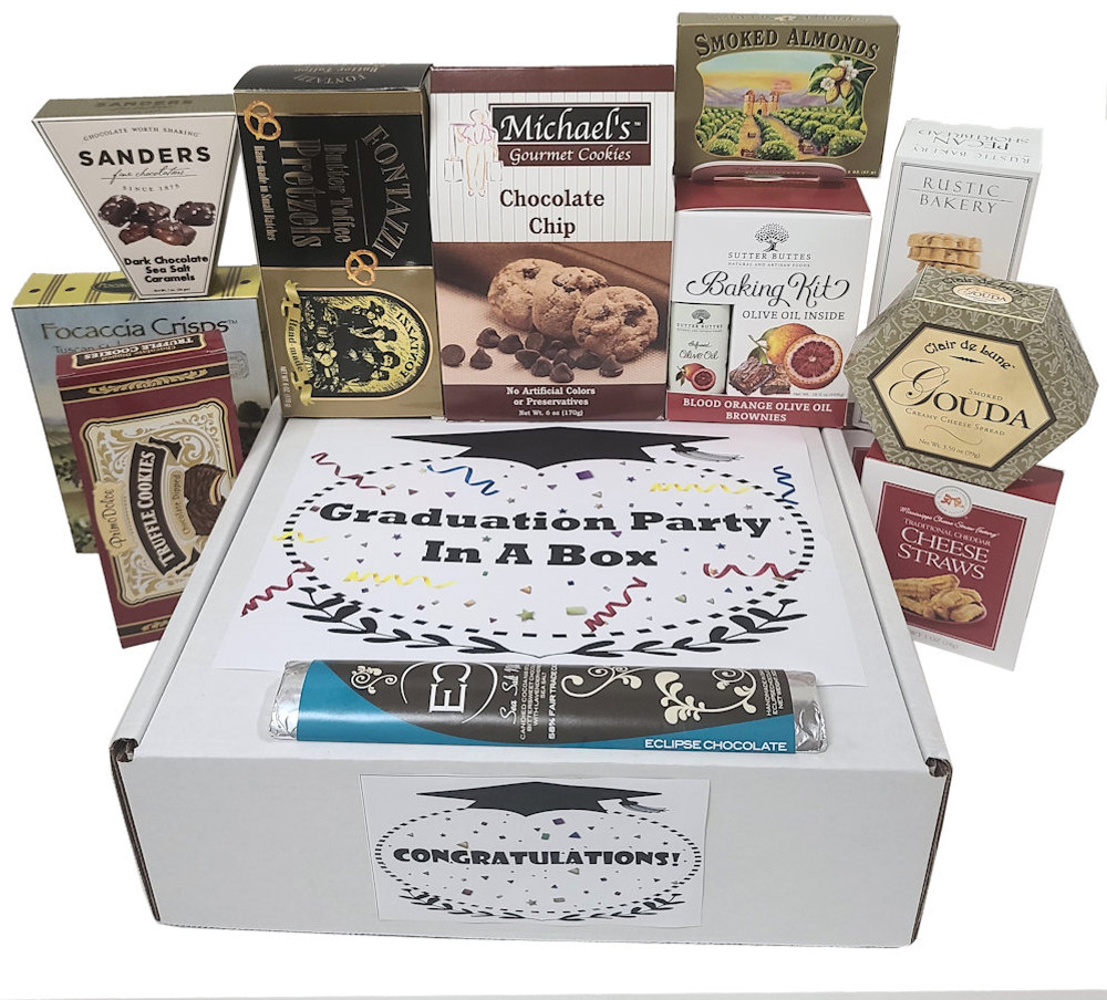 A large assortment of sweet and savory gourmet items that are delicious, fun, great for sharing, and deliver an impromptu party. The gift includes:  Chocolate Truffle Cookies Cheese Focaccia Crisp Crackers Butter Toffee Pretzels Chocolate Chip Cookies A Gold Medal Winning Brownie Baking Kit Rustic Bakery Shortbread Almonds Gourmet Chocolate from Eclipse Savory Cheese Straws Items of equal or greater value may be substituted depending on availability and the discovery of great new items.