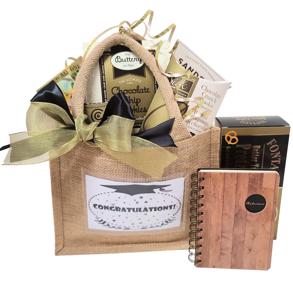 This burlap tote bag has a clear pocket in the front that can be used for a commemorative photo of graduation day. The tote bag is great to pack snacks for lunch and outings, and also makes a great organizer at home. It includes a delicious assortment of chocolates, cookies, gourmet pretzels, nuts, and a notebook.