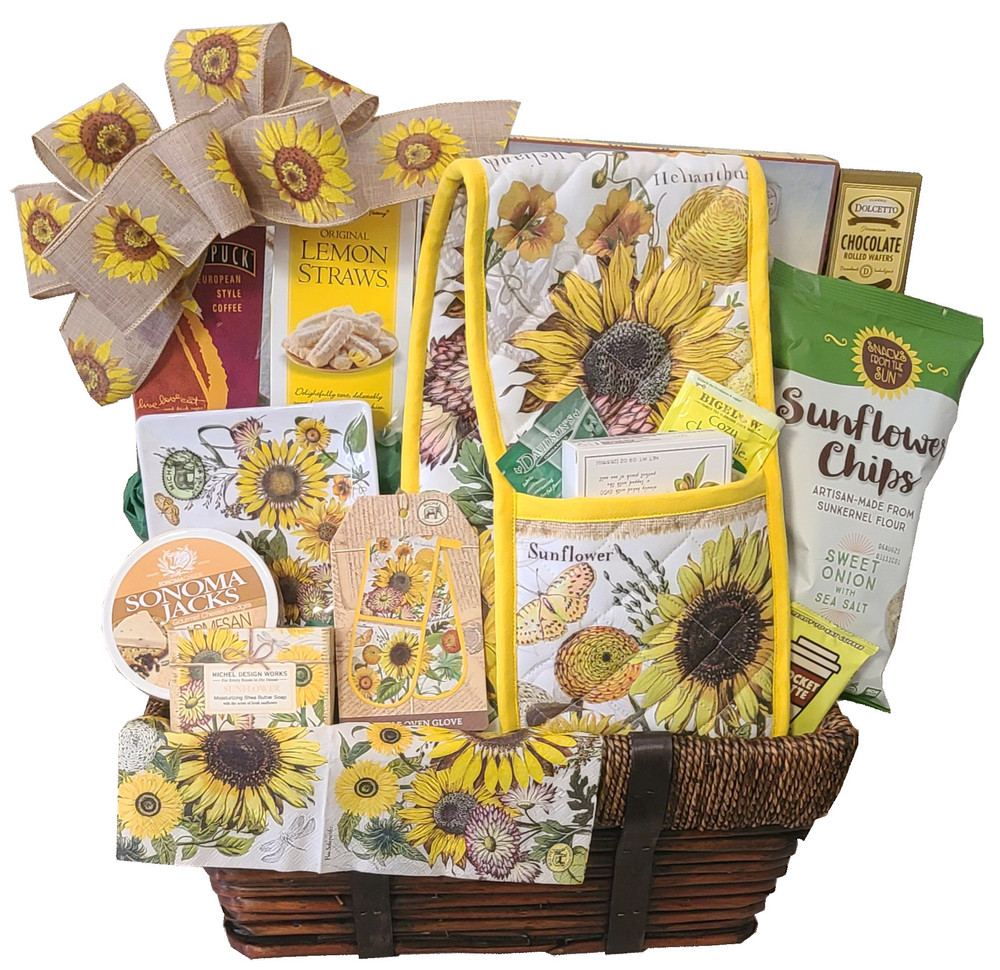 This gift, blooming with beautiful sunflowers, will brighten any home. It includes a double oven mitt that can also be used as a decorative table runner, a melamine sunflower plate, triple milled soap from England, and delicious gourmet items.  Items of equal or greater value may be substituted depending on availability.