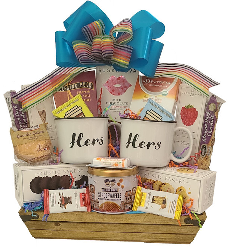 A delicious assortment of cookies, chocolates, assorted shortbread cookies, tea, coffee, biscotti, and two nice mugs, all designed in a wood crate.