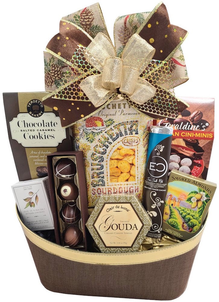 A delicious sweet and savory assortment of goodies, presented in a beautiful designer basket that is made of rich, textured brown fabric and gold faux leatherette. Includes:  Designer Brown Fabric and Gold rimmed leatherette Container Smoked Gouda Cheese Crackers Chocolate Caramel Cookies California Almonds Gourmet Chocolate Bar from Eclipse Chocolate Four Piece Box Chocolate Truffles Pecan Cinna-minnies