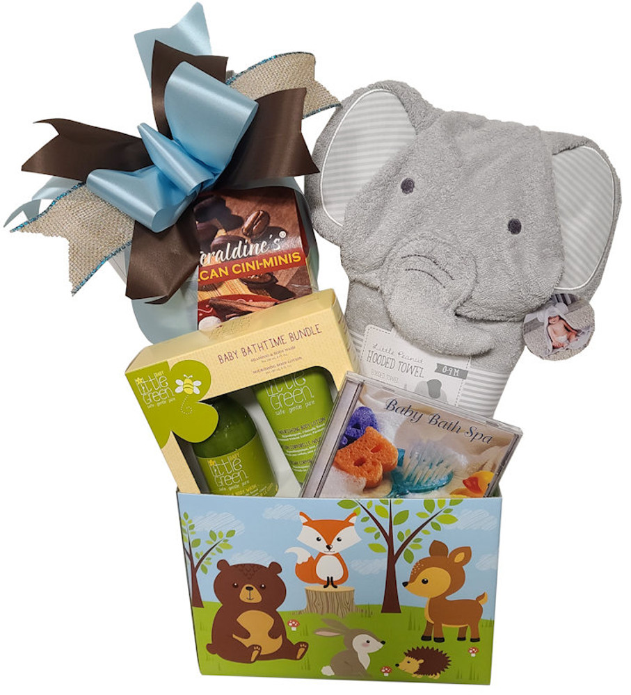 This adorable box with baby's forest friends, includes a soft plush hooded towel, baby spa CD, baby lotion set,  delicious cookies, tea, and more.