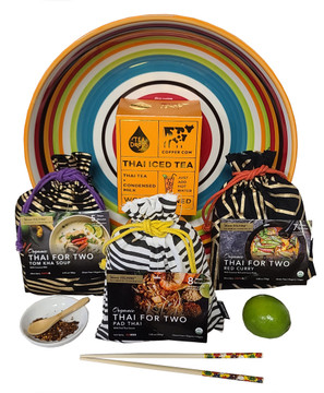 You can make either two deluxe three course meals or six one course meals and the gift includes 5 servings of Thai Iced Tea complete with sweetened condensed milk, a beautiful serving  bowl, a porcelain chili dish and mini bamboo spoon, two sets of chopsticks and a lime.  All products, sourced from a certified organic farm in Thailand. The flavors are authentic because each meal includes the difficult to find herbs and spices that make each dish so authentic and decadently delicious!  All are gluten free, organic and vegan. Meals are very easy to make and ready to eat in 10 to 15 minutes. This is great for a romantic date night, or a gift for any occasion.   Thailand Staycation creates all the flavors and aromas of Thailand in a very unique and memorable gift!   Tom Kha Thai Coconut Soup (two servings) Each ingredient is Organic: Dried Herbs, Tom Kha soup seasoning, coconut milk, ground hot chili for optional added spice. Pad Thai Noodles (two servings) Each ingredient is Organic:  rice noodles, dried garlic, dried herbs, Pad Thai sauce, ground peanuts, ground hot chili (for optional added spice) add veggies & protein Curry (two servings) *curry type varies  All Ingredients are Organic: Dried herbs, red, green or Panang chili paste, curry seasoning, coconut milk  Thai Iced Tea and Sweetened Condensed Milk (5 servings) Two sets of Chopsticks Lime Small Porcelain Chili Dish Mini Bamboo Spoon Beautiful Serving Bowl