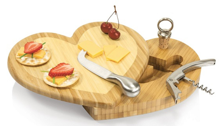 Heart Shaped Cutting Board with tools