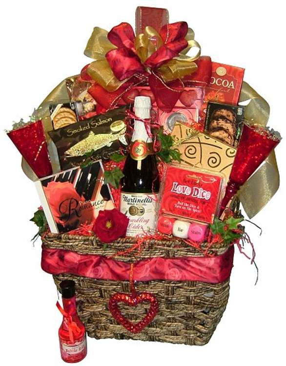 A large basket brimming with everything needed for a very romantic evening. Includes a romantic music CD, bubble bath, Love Dice game, apple cider with 2 glasses, romantic candles, Belgian Chocolate Truffles, cocoa, cheese & crackers, smoked salmon fillet, cookies and more.