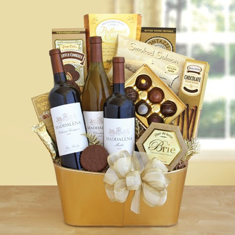 This gift includes 3 bottles of wine, cheese, crackers, decadent chocolate truffles, cookies and more all presented in an elegant gold tin.