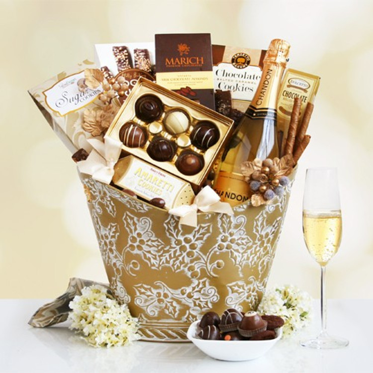 This gorgeous container is filled with Chandon champagne, decadent chocolate truffles, and delicious cookies and confections that is guaranteed to delight!
