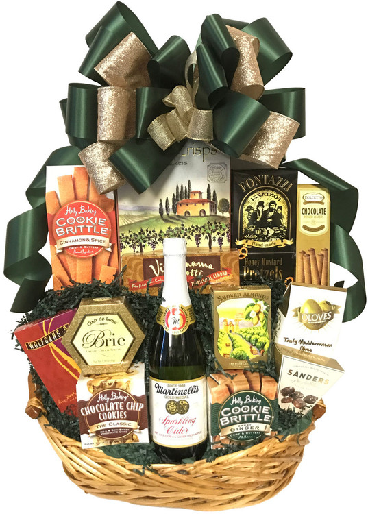 A delicious array of sweet and savory gourmet items that are great for sharing. Includes sparkling apple cider, nuts, assorted cookies, olives, cheese , crackers, European style coffee, honey mustard pretzels, Cinnamon Spice Cookie Brittle (Winner of the prestigious SOFI Award),   gourmet popcorn & chocolates. This gift basket is perfect for any holiday or occasion.