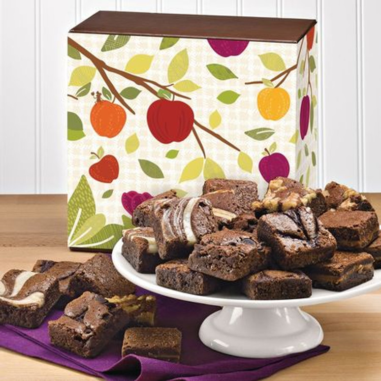 PLEASE NOTE:  These brownies are freshly baked and shipped directly from the bakery the next business day from the day ordered. Please allow 2 to 4 business days (depending on destination) for the gift to arrive.  This delicious assortment of 24 brownies in a nice Fall decor gift box include: 4 Caramel, 4 Chocolate Chip, 4 Original, 4 Raspberry Swirl, 4 Walnut, and 4 Cream Cheese brownies.  NOTE: Sugar Free brownies are available upon request and are equally delicious!