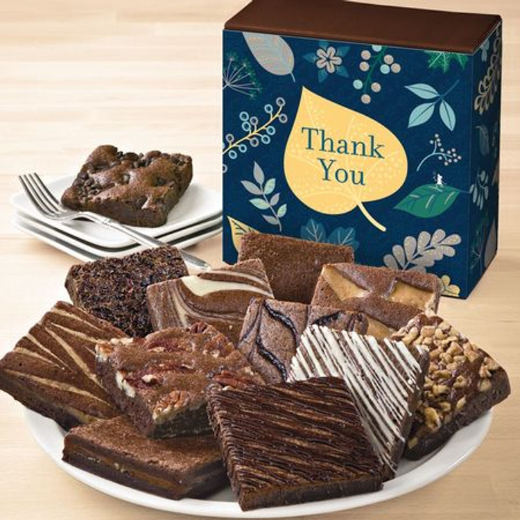 PLEASE NOTE:  These brownies are freshly baked and shipped directly from the bakery the next business day from the day ordered. Please allow 2 to 4 business days (depending on destination) for the gift to arrive.  A delicious way to say Thank You! You are sure to sweeten their day with this assortment of one dozen large, freshly baked brownies! The luscious assortment includes: Caramel Brownie, Cinnamon Cocoa Brownie, Chocolate Chip Brownie, Mint Chocolate Brownie, Pecan Brownie, Raspberry Swirl Brownie, Toffee Crunch Brownie, Walnut Brownie, White Chocolate Brownie, Espresso Nib Brownie, Cream Cheese Brownie.