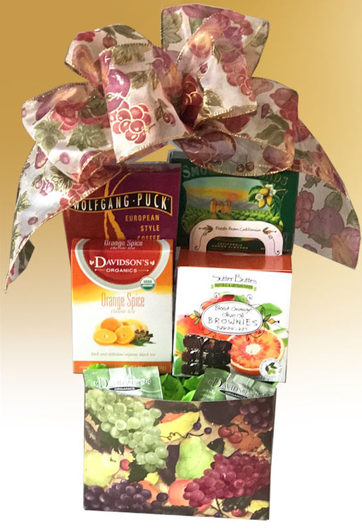 This festive, fruit designed gift box features the decadently delicious Blood Orange Brownie Kit! It won the coveted Gold Medal at the prestigious SOFI  (Specialty Outstanding Food Innovations) Awards, which is like the Academy Awards of the Fancy Food Industry! The Brownie Kit includes the Brownie Mix, a bag of Belgian Chocolate Chunks, and a small bottle of Blood Orange Olive Oil (also a SOFI Gold Medal Winner!) It is so easy to make and fills the house with a delicious mouth watering aroma. The gift also includes European Style Coffee, Tea, and California Almonds for a little something savory, or delicious chopped and added to the brownies. This item is shipped FedEx Ground.  Items of equal or greater value may be substituted depending on availability or the discovery of great new items.
