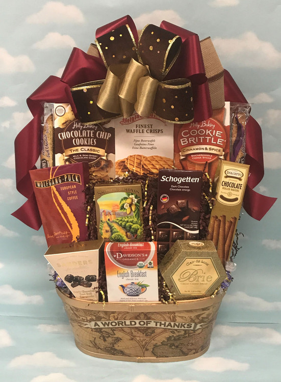 A popular thank you gift for both personal and corporate gifts! Includes European Style Coffee, German chocolate, English Breakfast Tea, Danish Cookies, Biscotti, chocolates, cookies, nuts, cheese and crackers.  Items of equal or greater value may be substituted depending on availability, seasonal specialties, and the discovery of great new products.