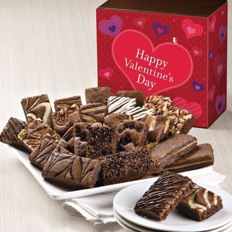 PLEASE NOTE:  These brownies are freshly baked and shipped directly from the bakery the next business day from the day ordered. Please allow 2 to 4 business days (depending on destination) for the gift to arrive. Delicious, freshly baked, melt in your mouth, assorted chocolate brownies in a Valentine's Day themed gift box. 24 decadent brownies! Flavors are: 2 Caramel, 2 Chocolate Chip, 2 Cinnamon Cocoa, 2 Mint Chocolate, 2 Original, 2 Pecan, 2 Raspberry Swirl, 2 Toffee Crunch, 2 Walnut, 2 White Chocolate, 2 Espresso Nib, 2 Cream Cheese.  NOTE: Sugar Free brownies are available upon request and are equally delicious!
