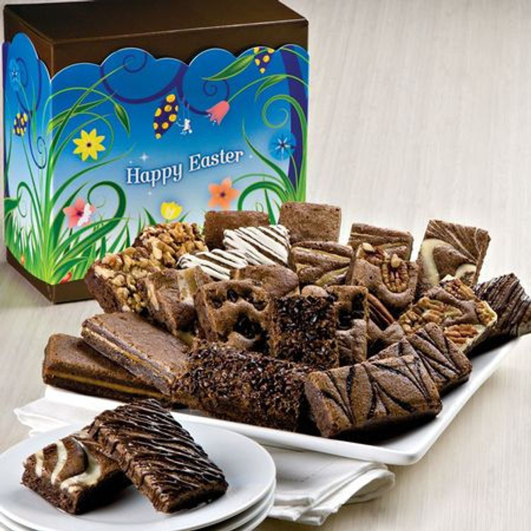Delicious, freshly baked, melt in your mouth, assorted chocolate brownies in a festive Happy Easter themed gift box. 24 decadent brownies! Flavors are: 2 Caramel, 2 Chocolate Chip, 2 Coconut, 2 Mint Chocolate , 2 Original, 2 Pecan, 2 Raspberry Swirl, 2 Toffee Crunch, 2 Walnut, 2 White Chocolate, 2 Espresso Nib, 2 Cream Cheese.  This product is baked fresh and shipped the same day from the bakery. Please allow three to four business days depending on destination.