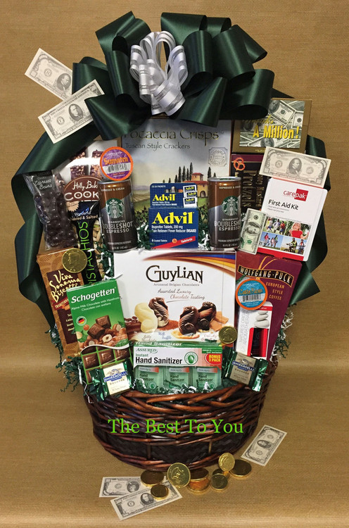 A large basket filled with essentials, snacks, survival gifts, and lots of humor to get through the busy tax season! Includes bandaids for all the paper cuts, coffee and espresso cause there is no time to sleep, Advil for the headaches, hand sanitizer, pencils and sharpeners, yoga stretches to do at your desk, energy snacks, chocolate, and desk top picnic items. Great for accountants and tax preparers.