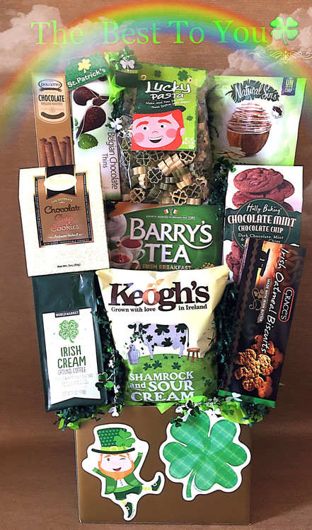 This is an impromptu St. Patrick's Day Party in a box.  Includes a large bag of Irish coffee, Irish tea, Lucky Pasta, chips, cookies, biscuits, chocolates and more! We'll top it off with a festive hand made bow and decorations. Rainbow not included.