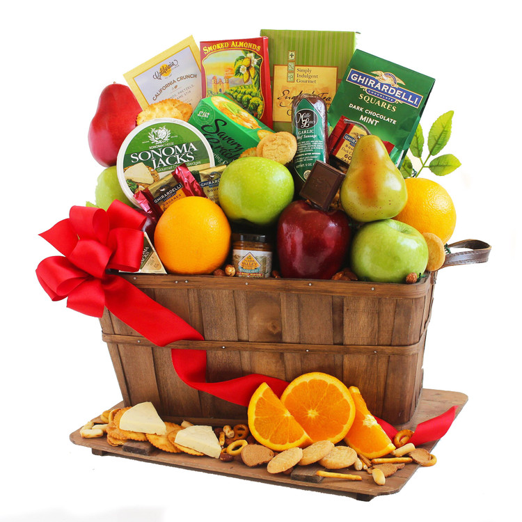A fruit basket filled with apples, oranges, pears, snack mix, cookies, almonds, cheese, summer sausage and crackers.  It makes a great gift for Summer, Fourth of July, Thanksgiving, Get Well, and Birthdays, too!     (Items of equal or greater value may be substituted, depending on availability, or discovery of great new items.)
