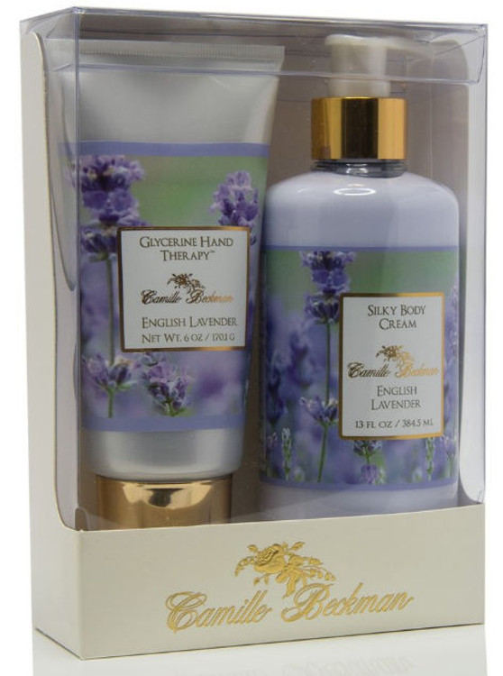 Top Of  The Line Camille Beckman products always get rave reviews! This elegant gift boxed duo includes Lavender hand cream and luxurious body cream in a pump bottle.