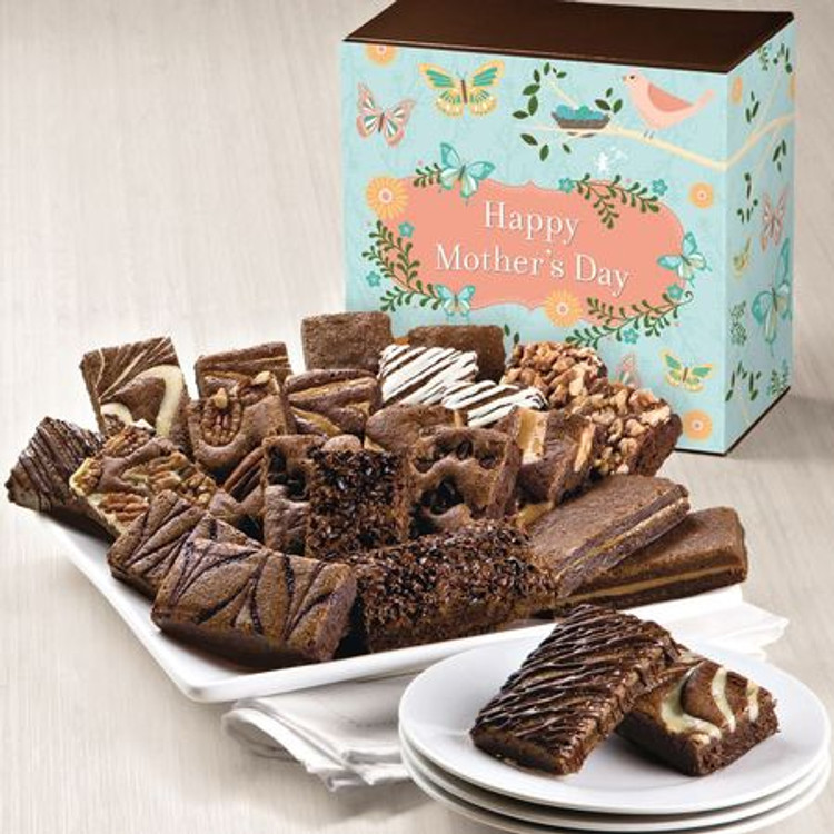Delicious, freshly baked, melt in your mouth, assorted chocolate brownies in a beautiful Mother's Day themed gift box. 24 decadent brownies! Flavors are: 2 Caramel, 2 Chocolate Chip, 2 Coconut, 2 Mint Chocolate , 2 Original, 2 Pecan, 2 Raspberry Swirl, 2 Toffee Crunch, 2 Walnut, 2 White Chocolate, 2 Espresso Nib, 2 Cream Cheese.  This product is baked fresh and shipped the same day from the bakery. Please allow three to four business days depending on destination.