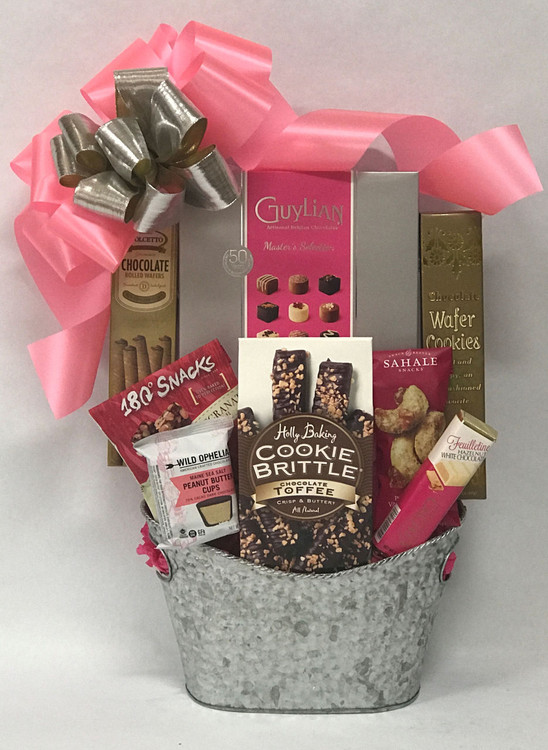 This is a great gift for any chocolate lover and can be decorated for any occasion! Great for Mother's Day, birthday,  and thank you. Includes decadent chocolate cookies and confections, nuts, and fine Belgian chocolates, in a hammered silver metal tin.