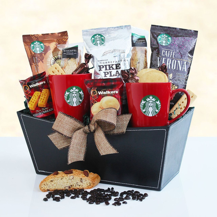 Great for any coffee enthusiast! Includes assorted Starbucks coffee, coffee mugs, biscotti. and more .