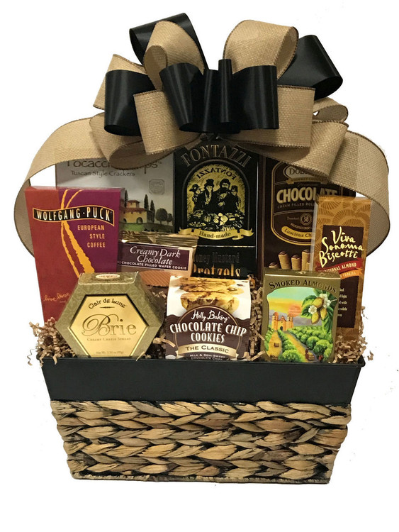 A designer container filled with a delicious sweet and savory assortment of  cheese, crackers, almonds, European style coffee, gourmet pretzels, chocolate filled pastry cookies, biscotti, and wafer cookies.  Items of equal or greater value may be substituted depending on availability.
