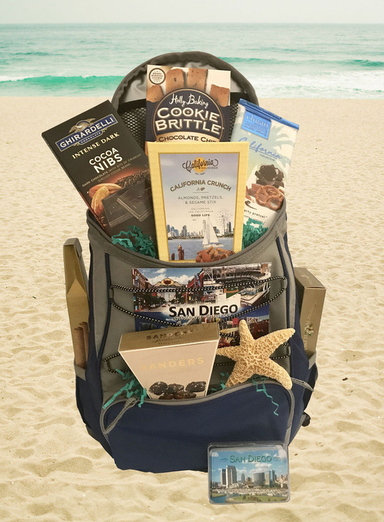 This is our most popular backpack, with all the pockets and compartments, and also can attach to a golf cart! It includes a delicious assortment of Ghirardelli chocolate, Chuao  chocolate,  chocolate sea salt caramels, California smoked almonds,   California snack mix,  cookies, and a starfish enhancement.