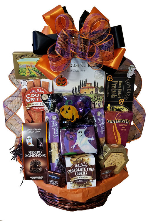 Our most popular Halloween basket is festive, fun and delicious. Great for sharing. Includes award winning  cinnamon spice cookies, chocolate chip cookies, chocolates, cheese, crackers, nuts, coffee, honey mustard pretzels, coffee, biscotti, caramel corn, and snacks.