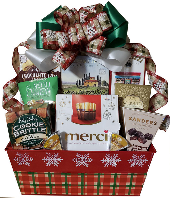 A bright and festive snowflake and plaid metal planter, overflowing with goodies perfect for sharing. Includes fine assorted European chocolates, chocolate chip cookies, ginger cookies, dark chocolate sea salt caramels, cheese, crackers, nuts, pretzels and cocoa.