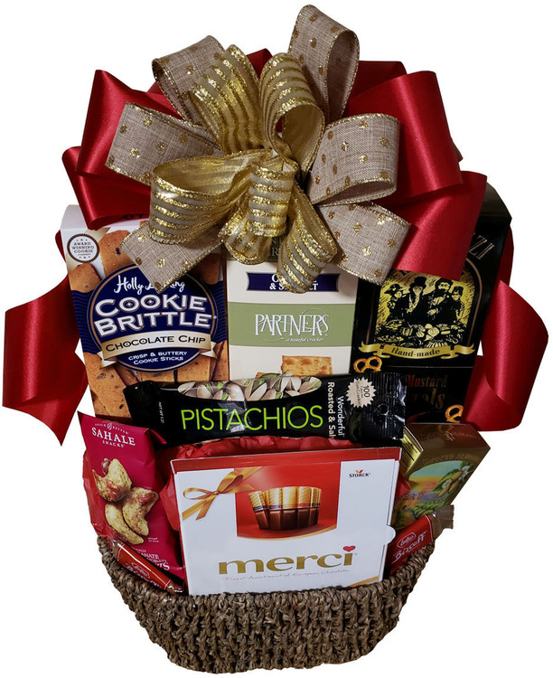 A delicious assortment of sweets and snacks perfect for sharing. This gift can be decorated for any occasion! Includes European chocolate assortment, honey mustard pretzels, chocolate chip cookies, pistachios, almonds, cashews, and snack crackers. Great for holidays, birthday, thank you, get well, and more.