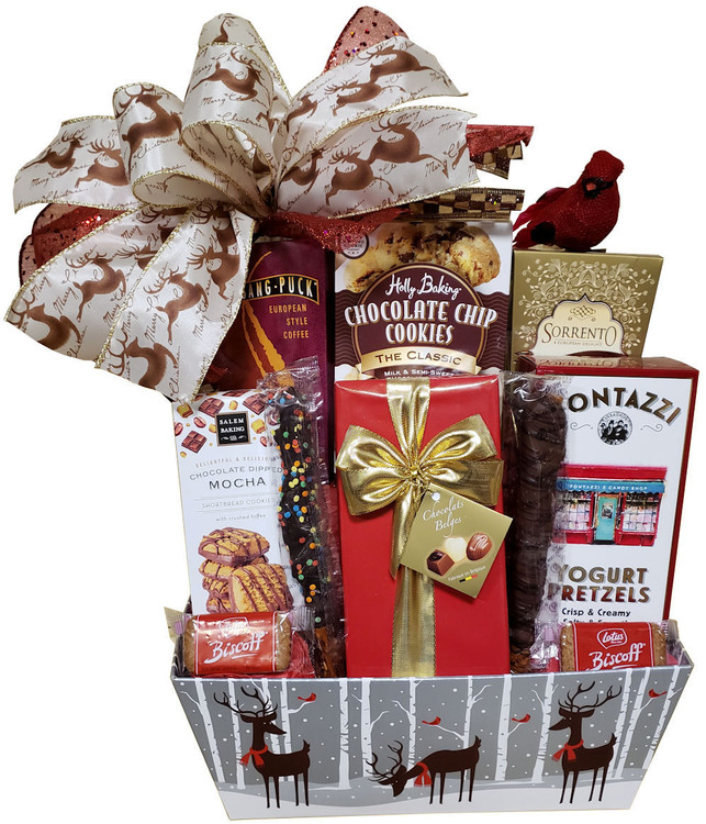 This adorable design is guaranteed to deliver big smiles and very yummy treats! The reindeer tray basket can be enjoyed year after year during the holidays. Goodies include chocolate chip cookies, fine Belgian chocolates, gourmet pretzels, mocha cookies, cocoa and European style coffee. It is topped off with a  reindeer ribbon bow and a red cardinal bird perched on top.